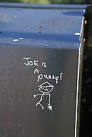 """""""Joe is a pussy"""" graffiti<br />"""