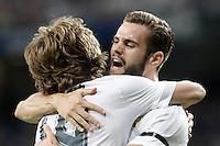 Real Madrid's Nacho Fernandez (r) and Luka Modric celebrate goal during XXXVI Santiago Bernabeu Trophy. August 18,2015. (ALTERPHOTOS/Acero)