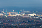 A view of The Riverside Stadium and Transporter Bridge, Middlesbrough, from Ormesby Bank.  16th January 2021, Middlesbrough 0 Birmingham 1.