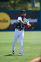 Lake Elsinore Storm shortstop Gabriel Arias (13) before a California League game against the Inland Empire 66ers on April 14, 2019 at The Diamond in Lake Elsinore, California. Lake Elsinore defeated Inland Empire 5-3. (Zachary Lucy/Four Seam Images)