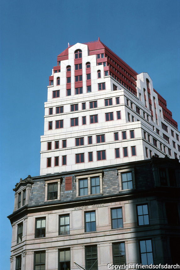 """Boston:  """"99 Summer""""  office tower by Goody Clancy of Boston, 1987.  Post Modern high-rise.   5-story atrium lobby,  flame finish granite exterior with an original red pyramidal roof and stepped office design.  Photo '88."""
