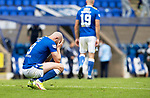 St Johnstone v Rangers…11.09.21  McDiarmid Park    SPFL<br />A gutted Chris Kane holds his head as the final whistle goes<br />Picture by Graeme Hart.<br />Copyright Perthshire Picture Agency<br />Tel: 01738 623350  Mobile: 07990 594431