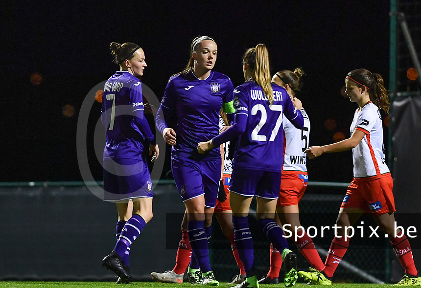Tine De Caigny (6) of Anderlecht pictured celebrating after scoring a goal during a female soccer game between RSC Anderlecht Dames and SV Zulte Waregem on the 10 th matchday of the 2020 - 2021 season of Belgian Womens Super League , friday 18 th of December 2020  in Tubize , Belgium . PHOTO SPORTPIX.BE | SPP | DAVID CATRY