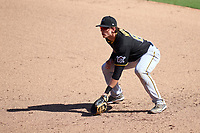 Pittsburgh Pirates first baseman Mason Martin (80) during a Major League Spring Training game against the Baltimore Orioles on February 28, 2021 at Ed Smith Stadium in Sarasota, Florida.  (Mike Janes/Four Seam Images)