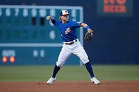 Durham Bulls third baseman Taylor Walls (1) makes a throw to first base against the Jacksonville Jumbo Shrimp at Durham Bulls Athletic Park on May 15, 2021 in Durham, North Carolina. (Brian Westerholt/Four Seam Images)