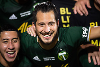 LAKE BUENA VISTA, FL - AUGUST 11: Diego Valeri #8 of the Portland Timbers celebrate a victory after a game between Orlando City SC and Portland Timbers at ESPN Wide World of Sports on August 11, 2020 in Lake Buena Vista, Florida.