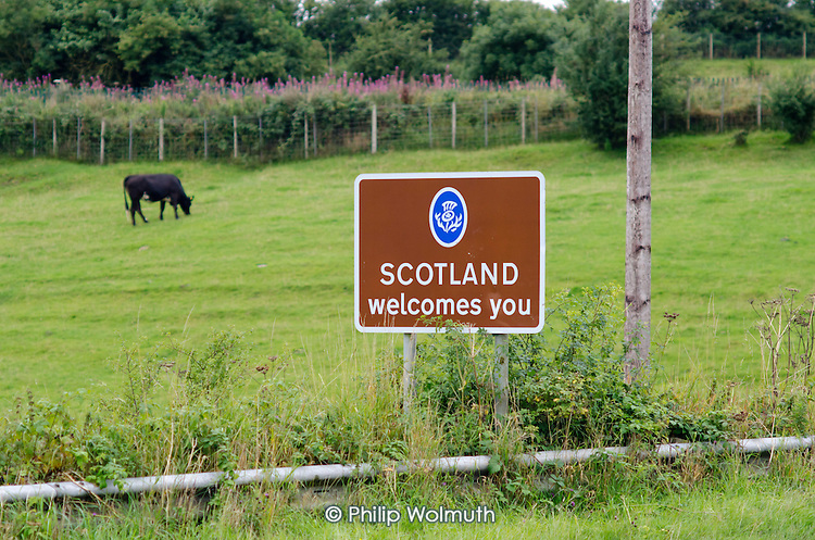 Scotland Welcomes You road sign, Dumfries and Galloway.