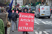Brexit supporters demonstrate outside the Houses of Parliament as MPs vote to extend the Article 50 deadline for an agreed withdrawal deal with the EU.  Westminster, London.