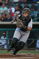 Kyle Overstreet (29) of the Lake Elsinore Storm during a game against the Lancaster JetHawks at The Hanger on June 14, 2017 in Lancaster, California. Lancaster defeated Lake Elsinore, 4-0. (Larry Goren/Four Seam Images)