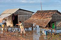 Fishermen houses on Tonle Sap lake, Siem Reap, Cambodia
