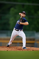 Mississippi Braves starting pitcher Ian Anderson (4) during a Southern League game against the Jacksonville Jumbo Shrimp on May 4, 2019 at Trustmark Park in Pearl, Mississippi.  Mississippi defeated Jacksonville 2-0.  (Mike Janes/Four Seam Images)