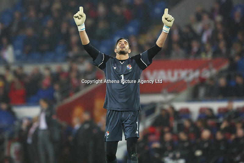 Jaime Penedo of Panama celebrates his sides first goal of the match during the International Friendly match between Wales and Panama at The Cardiff City Stadium, Wales, UK. Tuesday 14 November 2017