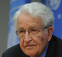 NEW YORK, UNITED STATES - OCTOBER 14: Noam Chomsky (R) attends a lecture on 'The Prospects for Resolving the Israeli-Palestinian Conflict' within the context of International Year of Solidarity with the Palestinian People in the United Nations headquarters in New York, United States on October 14, 2014.<br /> <br /> People:  Noam Chomsky<br /> <br /> Transmission Ref:  MNC1<br /> <br /> Must call if interested<br /> Michael Storms<br /> Storms Media Group Inc.<br /> 305-632-3400 - Cell<br /> 305-513-5783 - Fax<br /> MikeStorm@aol.com<br /> www.StormsMediaGroup.com