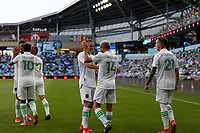 SAINT PAUL, MN - MAY 1: Diego Fagundez #14 of Austin FC celebrates his goal during a game between Austin FC and Minnesota United FC at Allianz Field on May 1, 2021 in Saint Paul, Minnesota.