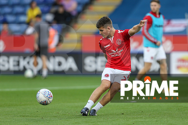 Fleetwood Town players warm up ahead of the English League Cup Round 2 Group North match between Leicester City and Fleetwood Town at the King Power Stadium, Leicester, England on 28 August 2018. Photo by David Horn.