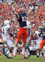 Virginia tight end Jake McGee (83) celebrates a fourth quarter touchdown during an NCAA football game against Penn State Saturday Sept. 8, 2012 in Charlottesville, VA. Virginia defeated Penn State 17-16.