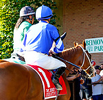 September 18, 2021: Creative Flair (IRE) #1, ridden by jockey Jamie Spencer in the post parade for the Jockey Club Oaks Invitational Stakes on the turf at Belmont Park in Elmont, N.Y. on September 18th, 2021. Dan Heary/Eclipse Sportswire/CSM