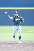Michigan State Spartans second baseman Trent Farquhar (1) makes a throw to first base against the Michigan Wolverines on March 22, 2021 in NCAA baseball action at Ray Fisher Stadium in Ann Arbor, Michigan. Michigan State beat the Wolverines 3-0. (Andrew Woolley/Four Seam Images)