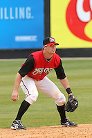 Zach Cozart of the Carolina Mudcats fielding versus the Huntsville Stars on April 22, 2009 at Five County Stadium in Zebulon, NC