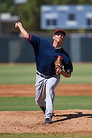 Cleveland Indians Leandro Linares (35) during an instructional league game against the Milwaukee Brewers on October 8, 2015 at the Maryvale Baseball Complex in Maryvale, Arizona.  (Mike Janes/Four Seam Images)