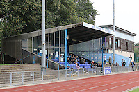 View of the main stand during Barkingside vs Ipswich Wanderers, Emirates FA Cup Preliminary Round Football at Cricklefields Stadium, Ilford, England on 30/08/2015
