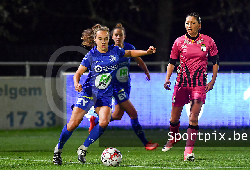 Jasmien Mathys (12 Gent) pictured with Delphine Preaux (4 Charleroi) during a female soccer game between  AA Gent Ladies and Sporting Charleroi Feminin on the fifth matchday of the 2020 - 2021 season of Belgian Scooore Womens Super League , friday 16 th of October 2020  in Oostakker , Belgium . PHOTO SPORTPIX.BE | SPP | DAVID CATRY