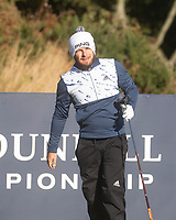 1st October 2021; Kingsbarns Golf Links, Fife, Scotland; European Tour, Alfred Dunhill Links Championship, Second round; Tyrrell Hatton of England watches his tee shot on the twelfth hole at Kingsbarns Golf Links