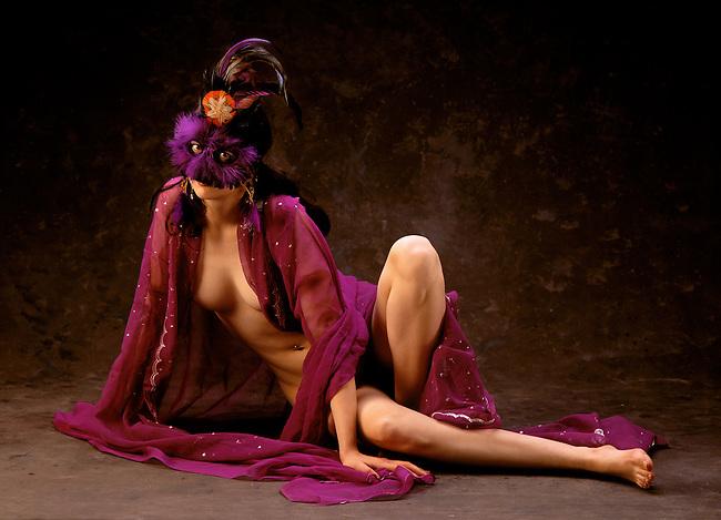 Mystery woman with PURPLE SARI &  MARDI GRAS MASK.