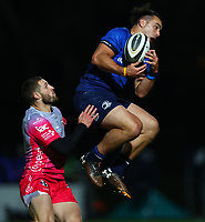 2nd October 2020; RDS Arena, Dublin, Leinster, Ireland; Guinness Pro 14 Rugby, Leinster versus Dragons; James Lowe (Leinster) gathers the high ball under pressure from Jonah Holmes (Dragons)