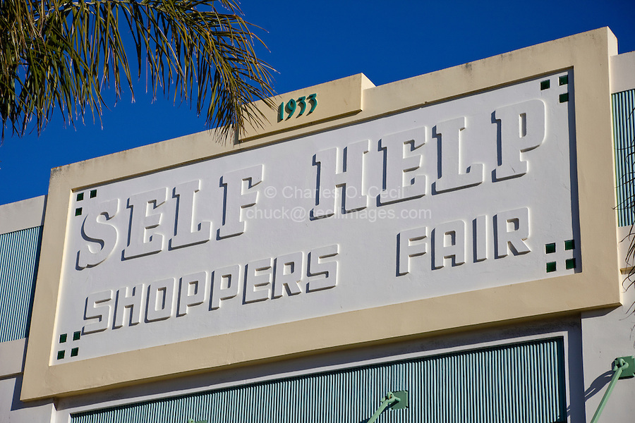 Napier, New Zealand.  Art Deco Store Marquis.  First Self-Serve Grocery Store.