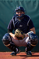 FCL Yankees catcher Ben Rice (45) during practice before a game against the FCL Tigers West on July 31, 2021 at Tigertown in Lakeland, Florida.  (Mike Janes/Four Seam Images)