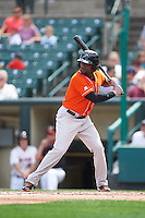 Norfolk Tides right fielder Xavier Avery (15) at bat during a game against the Rochester Red Wings on July 17, 2016 at Frontier Field in Rochester, New York.  Rochester defeated Norfolk 3-2.  (Mike Janes/Four Seam Images)
