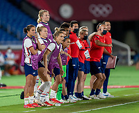 YOKOHAMA, JAPAN - JULY 30: USWNT reacts to Alyssa Naeher's first save in PK's during a game between Netherlands and USWNT at International Stadium Yokohama on July 30, 2021 in Yokohama, Japan.