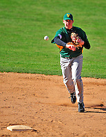 19 April 2009: University of Vermont Catamounts' shortstop Matt Duffy, a Sophomore from Milton, MA, in action against the University at Albany Great Danes at Historic Centennial Field in Burlington, Vermont. The Great Danes defeated the Catamounts 9-4 in the second game of a double-header. Sadly, the Catamounts are playing their last season of baseball, as the program has been marked for elimination due to budgetary constraints on the University. Mandatory Photo Credit: Ed Wolfstein Photo