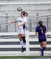 Abbey Moore (50) of Mount Saint Mary's Academy heads ball against Fayetteville at Wildcat Stadium, Springdale, Arkansas, Friday, May 14, 2021 / Special to NWA Democrat-Gazette/ David Beach