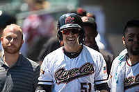 Sacramento RiverCats second baseman Chase D'Arnaud (51) celebrates after hitting a home run in the first inning of a Pacific Coast League against the Tacoma Rainiers at Raley Field on May 15, 2018 in Sacramento, California. Tacoma defeated Sacramento 8-5. (Zachary Lucy/Four Seam Images)