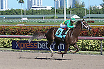 January 16, 2016: Kinsley Kisses (KY) with jockey John Velazquez on board breaks her maiden on Sunshine Millions Day at Gulfstream Park in Hallandale Beach, FL.  Liz Lamont/ESW/CSM