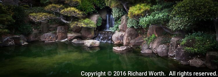 A waterfall surrounded by scuplted shrubs reflected in the koi pond at the Japanese Garden, tucked away in a busy urban neighborhood.