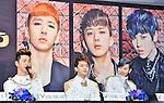 BAP, May 25, 2013 :  Yokohama, Japan : (L-R)Yong guk Bang, Young jae Yoo and ZELO (Jun hong Choi) attend a press conference in Yokohama, Japan, on May 25, 2013. (Photo by Keizo Mori/AFLO)