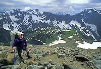 Climber on Sahale Arm, North Cascades National Park, Washington.
