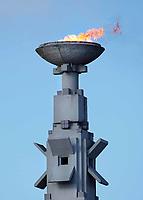Nederland Amsterdam - 2018. In het Olympisch Stadion in Amsterdam is zaterdag het olympisch vuur aangestoken. Het is een eerbetoon aan schaatsster Carlijn Achtereekte, die op deze Olympische Winterspelen goud won. De olympische vlam ontbrandde in dit stadion voor het eerst in 1928, toen de Spelen er werden gehouden. Nu ontbrandt de vlam na iedere Nederlandse gouden medaille. Foto Berlinda van Dam / Hollandse Hoogte