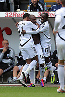 Pictured: (L-R) Scott Sinclair, Leroy Lita and Nathan Dyer of Swansea City. Saturday 17 September 2011<br /> Re: Premiership football Swansea City FC v West Bromwich Albion at the Liberty Stadium, south Wales.