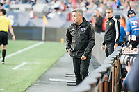 FOXBOROUGH, MA - SEPTEMBER 29: Domonet Torrent, coach of New York City FC during a game between New York City FC and New England Revolution at Gillettes Stadium on September 29, 2019 in Foxborough, Massachusetts.