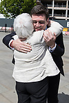 © Joel Goodman - 07973 332324 . 05/05/2017 . Manchester , UK . ANDY BURNHAM arrives and is greeted by his mother EILEEN . The count for council and Metro Mayor elections in Greater Manchester at the Manchester Central Convention Centre . Photo credit : Joel Goodman
