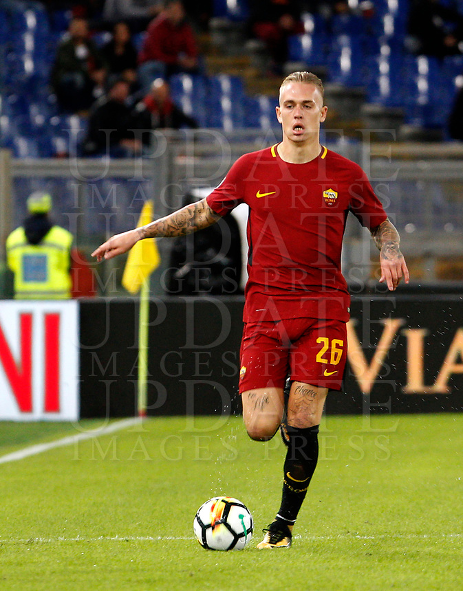 Calcio, Serie A: Roma vs Crotone. Roma, stadio Olimpico, 25 ottobre 2017.<br /> Roma's Rick Karsdorp in action during the Italian Serie A football match between Roma and Crotone at Rome's Olympic stadium, 25 October 2017.<br /> UPDATE IMAGES PRESS/Riccardo De Luca