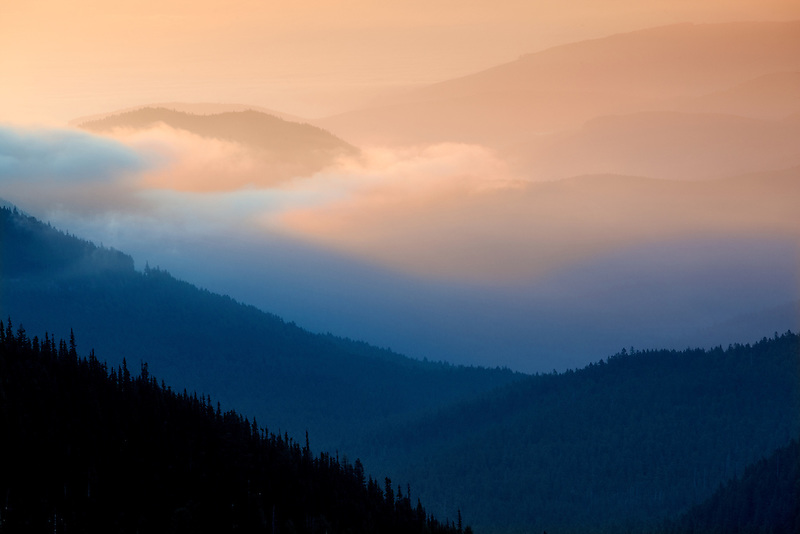 Sunrise and fog. Taken from Hurricane Ridge, Olympic National Park. Washington