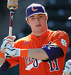 Outfielder Kyle Parker (11) of the Clemson Tigers in a game against the Michigan State Spartans Saturday, Feb. 20, 2010, at Fluor Field at the West End in Greenville, S.C. Parker is ranked No. 73 on Baseball America's list of top 100 college prospects. Parker was drafted by the Colorado Rockies with the No. 26 overall pick in the first round of the 2010 player draft. Photo by: Tom Priddy/Four Seam Images