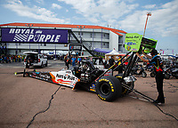 Apr 22, 2017; Baytown, TX, USA; NHRA top fuel driver Clay Millican during qualifying for the Springnationals at Royal Purple Raceway. Mandatory Credit: Mark J. Rebilas-USA TODAY Sports