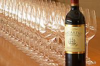 Chateau Malartic Lagraviere Wine glasses. Chateau Malartic Lagraviere, Pessac Leognan, Graves, Bordeaux, France