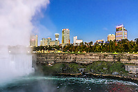 Horshoe Fall and city skyline, Niagara Falls, Ontario, Canada.
